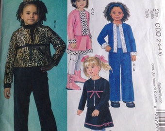 McCall's Pattern, Girl's Pattern, Girl's Skirt, Girl's Suit, Size CDD (2,3,4,5), Pattern M4913