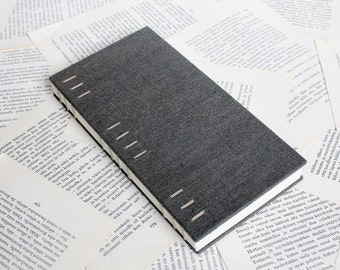 Tall Dark Grey Hardcover Notebook - Coptic Binding