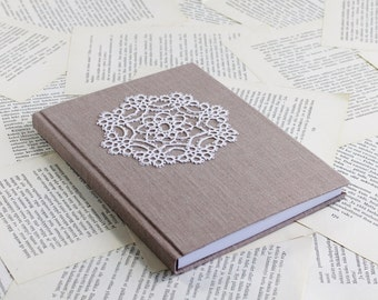 Large Journal with Dusty Pink Linen and Vintage Lace