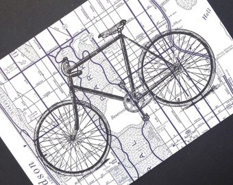 Bicycle Print on Manhattan Street Map - Bike Print - New York City Map - Central Park Map - New York Bike Print