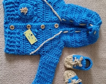 Hand crocheted baby sweater with hoodie and high top sneakers 0-3 months