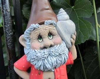 Gnome Statue - Gnome holding a seashell - beach bum gnome - beach garden gnome - Flip Flop gnome - gift idea- beach lover gift