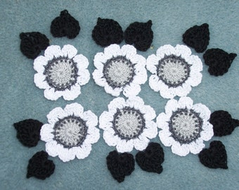 6 gray and white thread crochet applique flowers with black leaves --  2535