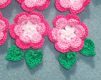 6 handmade pink  crochet applique flowers with leaves  -- 2317
