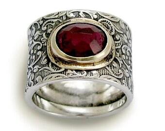 Garnet ring, Gypsy ring, vine ring, unique ring, Silver Gold Ring, boho chic ring, bohemian ring, stone ring, two tone ring - Craving R1624