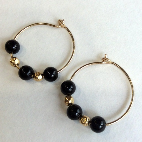 yx earrings Small hoop earrings black beads earrings gold