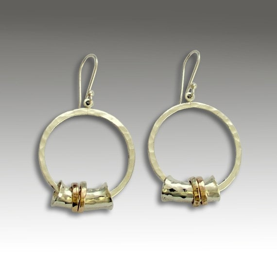 Sterling silver earrings, silver gold earrings, silver dangle earrings,Twotone earrings, mixed metal dangles - When he looks at me E2181