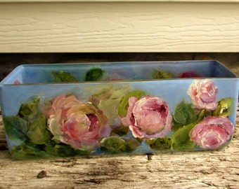 Hand Painted Roses Glass- Impressionist Floral- Original Home Decor- Cottage Garden Style