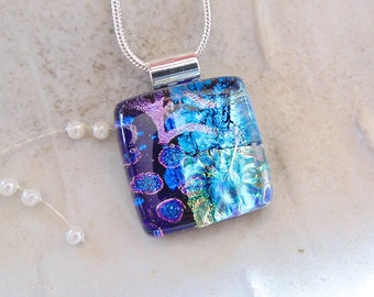 PETITE Dichroic Pendant, Glass Pendant, Fused Glass Jewelry, Blue,  Necklace Included, One of a Kind, A5