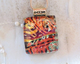 Petite, Dichroic Glass Pendant, Glass Jewelry, Gold, Red, Necklace Included, One of a Kind, A4