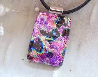 Dichroic Pendant, Glass Jewelry, Necklace, Pink, Black, Necklace Included