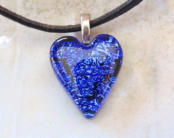 Petite, Dichroic Glass Pendant, Heart, Glass Jewelry, Blue, Necklace Included, A8