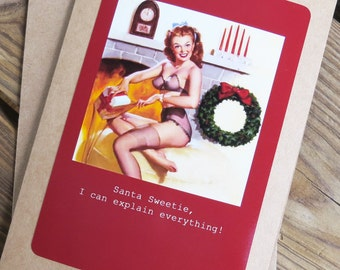 Funny Christmas Card- Santa Sweetie, I can explain everything  5 x 7 Kraft Card Stock with Matching Envelope Design: Xmas5