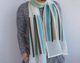 Free shipping, Ivory/brown aqua colors scarve-scarf