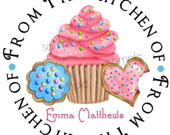 Cupcake stickers, Cookie Stickers, Baking labels, Cupcakes, baking stickers, Kitchen stickers, Labels,Favor, Hostess, Housewarming,set of 12