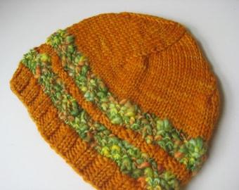 marigold orange wool knit hat