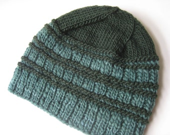 green hand knit wool hat