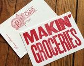 MAKIN' GROCERIES 6 hand printed letterpress mini prints post cards