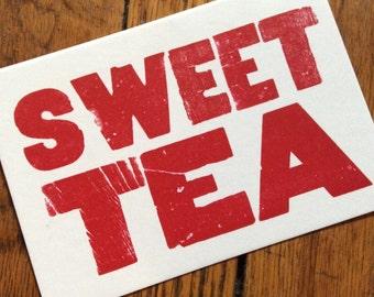 SWEET TEA 6 hand printed letterpress mini prints post cards