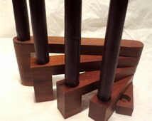 Exotic Wood Swiveling Candle Stick Holder - 5 Taper Centerpiece Candle Holder -  Vintage 70s