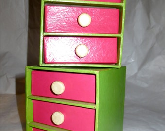 Vintage 60s MOD Jewelry Drawers Classic Made in Japan Tertiary Color Pairings 3 Drawer Stacking Cubes Trinket Storage Desk Top or Vanity