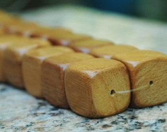 20mm Wood Cube Beads ~ Nangka Wood ~ 16 inch strand