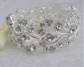 Adjustable Bracelet, Crystal bracelet, bridal jewelry, Ribbon bracelet, Bridesmaids Bracelet, Wedding Jewelry, Petite to Plus size