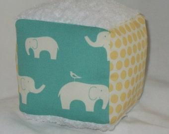 Organic Pool and Yellow Elephant Fabric Block Rattle Toy