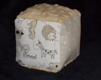 Neutral Animal Alphabet Fabric Block Rattle