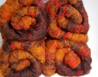 Leaf Piles Silk/Hand-Dyed Mixed BFL/Merino/Nepps/Mohair Carded Batts
