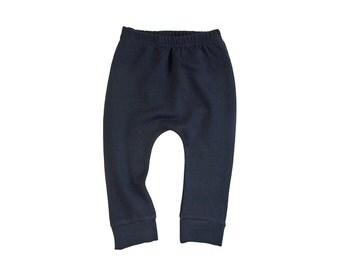 Wool French terry baby pants, woollen leggings, black longies, harem pants (black / noir)