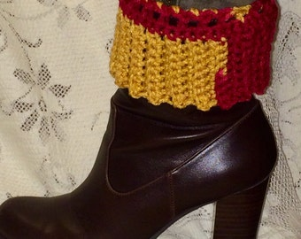 Women's Crocheted Boot Cuffs - Maroon and Gold