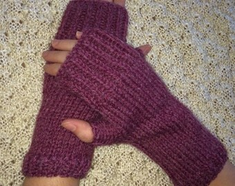 Handknitted Fingerless Gloves Wristwarmers Handwarmers - Dusty Rose -  Size M/L  (womens)