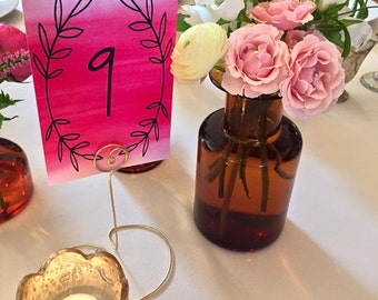 Tall Wire Table Number Holder - Numbers - Heart or Circle Base - You Choose the Color