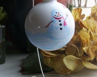 Christmas Ornament - Hand Painted Snowman with Scarf - Glitter - XMAS - Holiday - Hanukkah