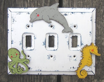 UNDER THE SEA Creatures Kids Switch Plate Cover - Original Hand Painted Wood - Any Size - Rocker/Toggle