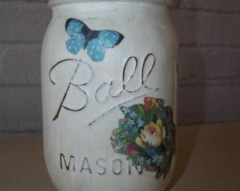 Painted Mason Jar, Decoupage Mason Jar, Mason Jar Vase
