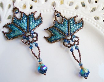 Winter Blues Art Nouveau chandelier earrings woven with seed beads and vintage Swarovski crystals