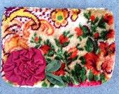Vintage Velvet Orange Floral Clutch