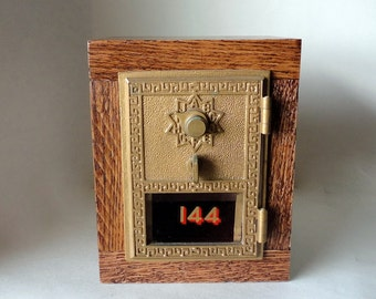 Oak Safe Vintage Brass Bronze US Post Office Door #144 Bank Combination Mail Lockbox Brass Groomsman 8th Anniversary Retirement Lock Box