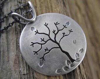 Handmade Sterling Silver Tree Pendant - Autumn in Michigan