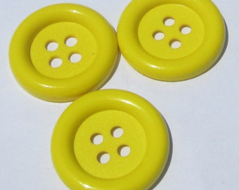Buttons 3 jumbo yellow round plastic buttons new destash supplies for crafting and sewing