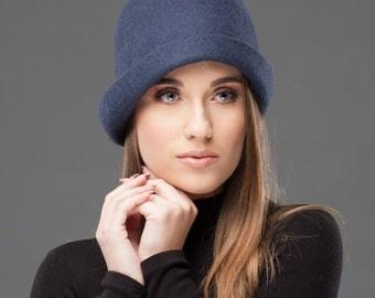 Felted Hat Blue Merino wool hat for women Warm accessory
