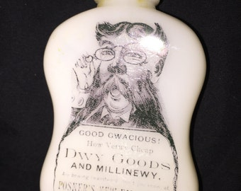 OId Souped Up White Milk Glass Medicine Bottle
