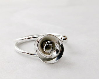 Rose ring, Sterling Silver, adjustable ring, Flower jewelry