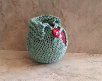 Mint Green Apple Sweater Jacket - Hand knit - Crocheted Loop - Lucky Lady Bug Button Back to School