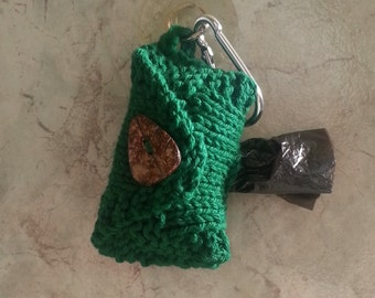 Dog Poop Bag Dispenser Knit Cotton Poop Bag Holder Forest Green Color Handknit Cotton Knit Fabric Coconut Button Metal Carabiner