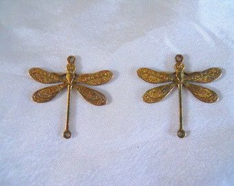 Pair Vintage Brass Dragonfly Findings