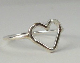 Sterling Silver Simple Heart Ring - midi heart ring