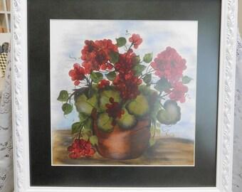 Garden Geraniums, Framed Print from Original Canvas Painting, Art by Celestina Marie, Wall Decor, Home Decor, Display, ECS
